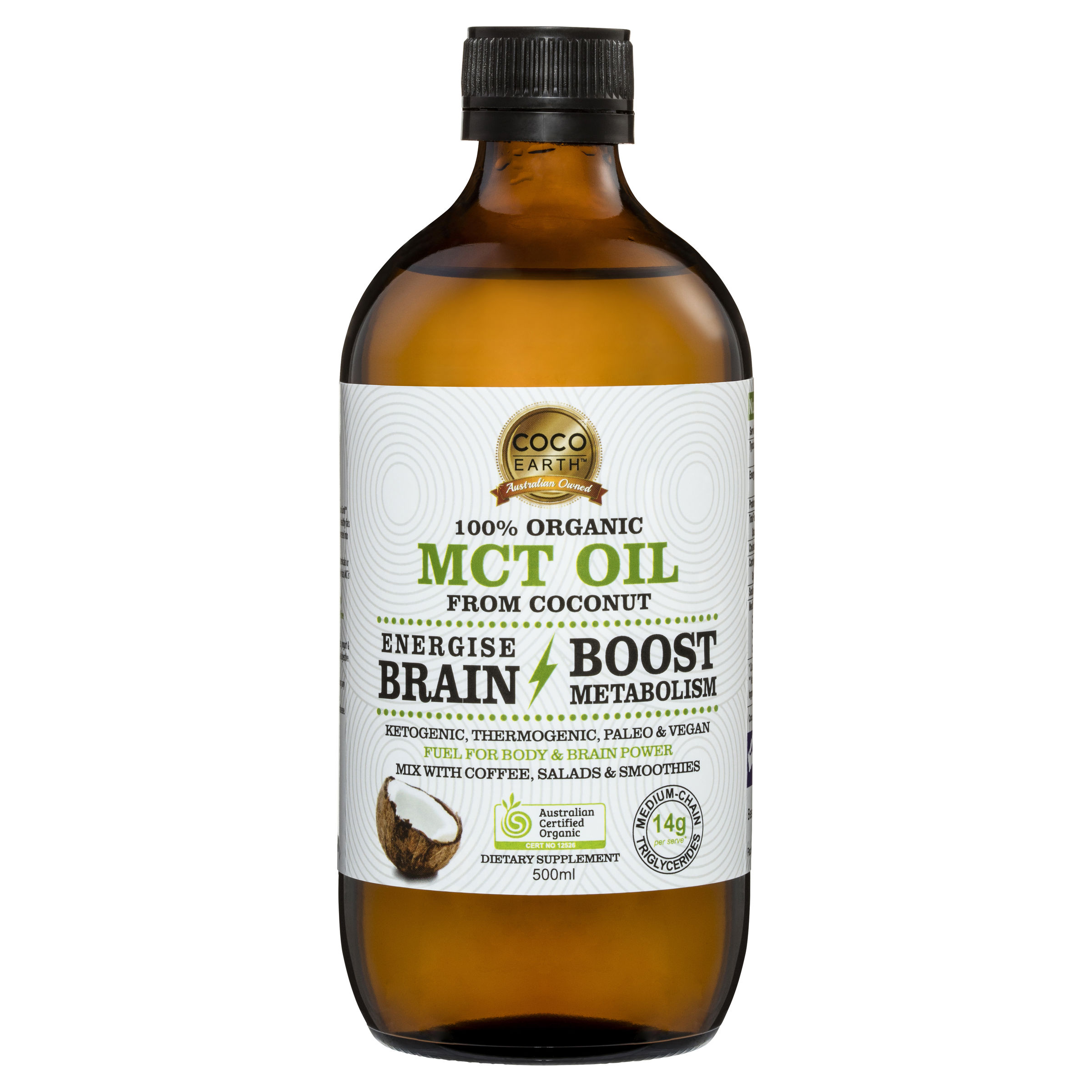 Coco Earth Organic coconut MCT Oil 500mL